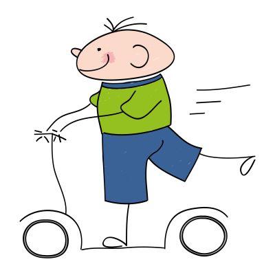 Rysunek przedstawiający dziecko jeżdżące na rowerze