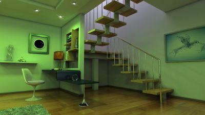 Pomieszczenie podświetlone na zielono, lampy LED w połączeniu z zielonymi ścianami dają niesamowity, ale jednostajny efekt zieleni, do tego interesujące drewniane schody - freedigitalphotos.net