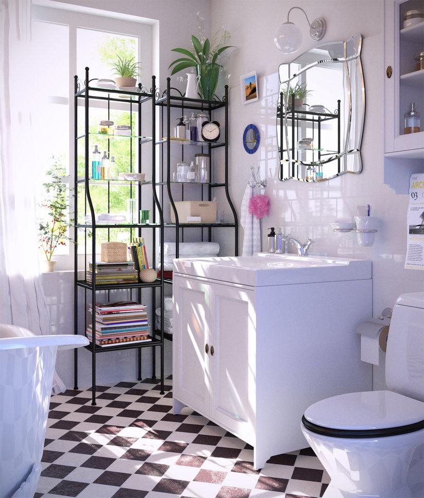 łazienka z szafką podumywalkową i dodatkowymi meblamisource: DEVIANART by masvaley