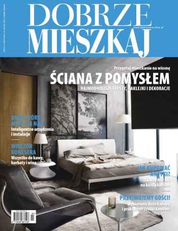 Okładka czasopisma Dobrze mieszkaj, na okładce sypialnia z łóżkiem i fotelem