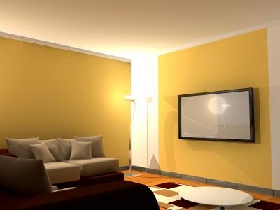 Salon z telewizorem podwieszanym na ścianie, żółte ściany i białe wykończenia, szare i brązowe sofy, niski stolik - freedigitalphotos.net By Salvatore Vuono