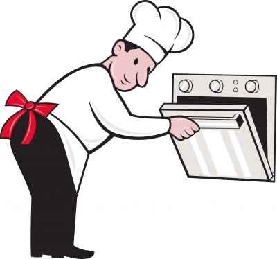 Rysunek kolorowy kucharza, który otwiera piekarnik - source: FreeDigitalPhotos.net By vectorolie