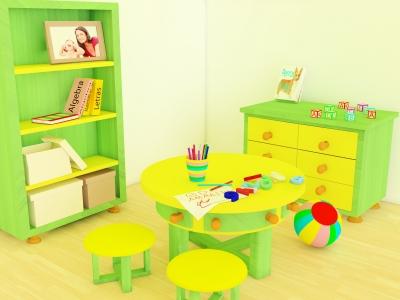 Meble w zielonym pokoju dziecka - source: FreeDigitalPhotos.net by David Castillo Dominici