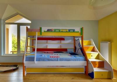 Piętrowe łóżko dziecięce ze schodami po prawej stronie, bardzo ciekawe rozwiązanie funkcjonalne - source: FreeDigitalPhotos.net By sattva