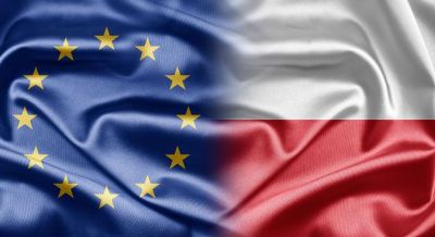 Flaga Polski i Unii Europejskiej razem