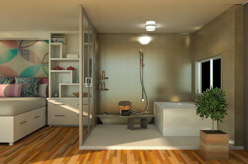 Łazienka wykończona płytkami drewnopodobnymi