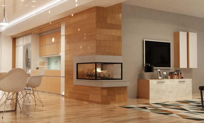 Biokominek narożny w pięknie zaaranżowanym, nowoczenym salonie z jadalnią. Biokominki narożnikowe cieszą się zainteresowaniem.