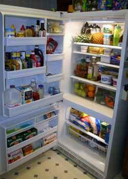 Lodówka wypełniona jedzeniem, napojami, owocami i wieloma innymi rzeczami - source: morguefile