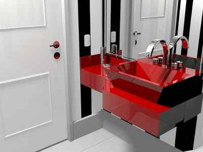 Przykład łazienki z umywalką z kątami prostymi na rogach