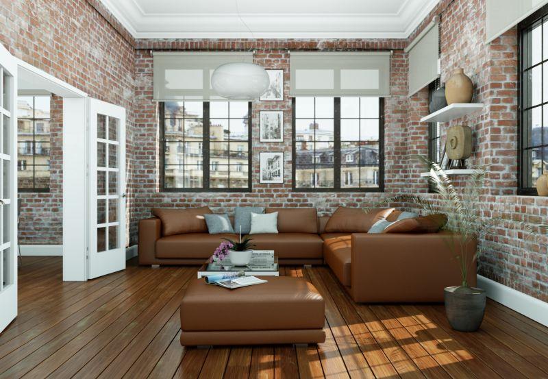 Salon w kolorach i aranżacji w stylu loftowym