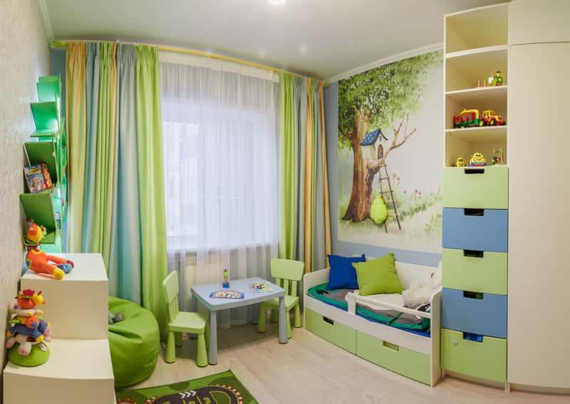 Niebiesko-zielony pokoik dziecięcy