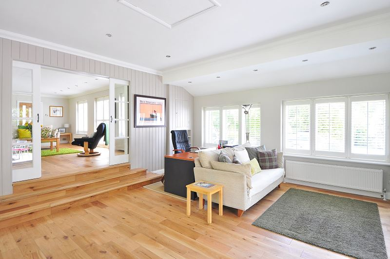 Salon z wyczyszczonym dywanem