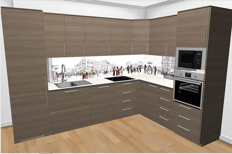 Wizualizacja kuchni - panele ścienne do kuchni wraz z meblami kuchennymi