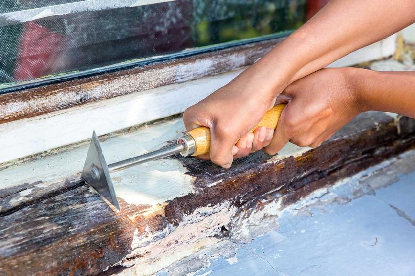 Przy renowacji okien drewnianych najważniejsze jest usunięcie starej farby. Dzięki temu nowa warstwa będzie bardziej trwała.