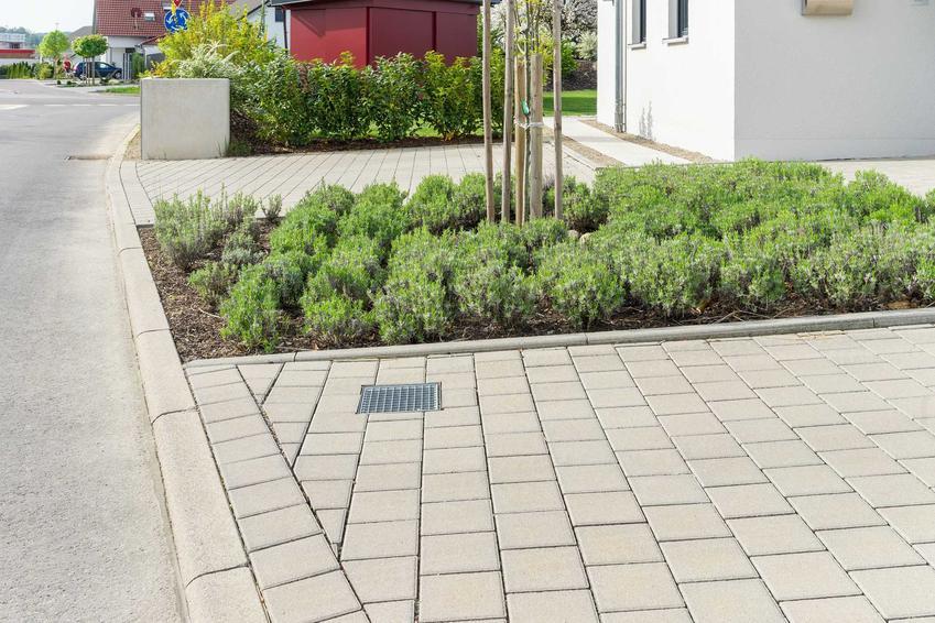 Odwodnienie liniowe składa się z korytek, rur i kratek, które zbierają wodę z podwórka. Dzięki nim na trawniku nie tworzą się kałuże.