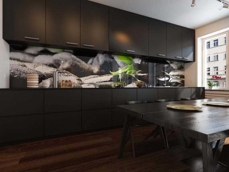 Nowoczesne panele szklane w ciemnej kuchni w ciekawym stylu, a także zastosowanie, opis, rodzaje, opinie oraz kolory