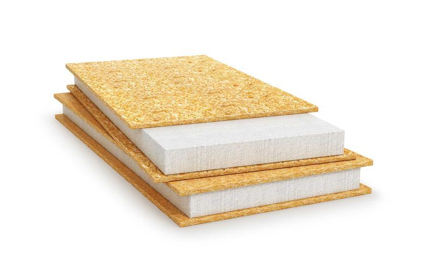 Panele SIP dachowe i stropowe mają różne wielkości, zarówno długości, szerokości, jak i średniej grubości rdzenia. Panel w przekroju ma rdzeń wykonany ze styropianu lub pianki poliuretanowej.