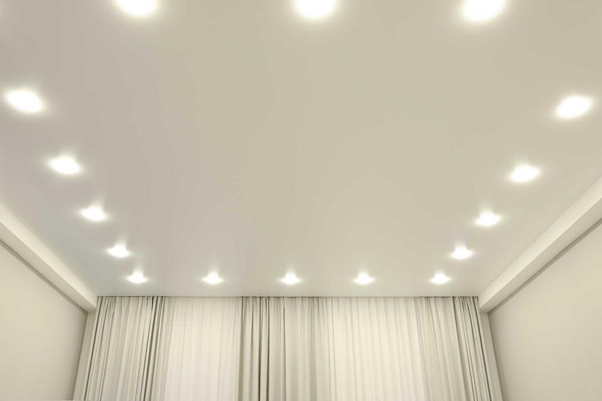 Wykończony i wygipsowany pokój z halogenami zamontowanymi na suficie, a także halogeny sufitowe i sufitowe lampki LED