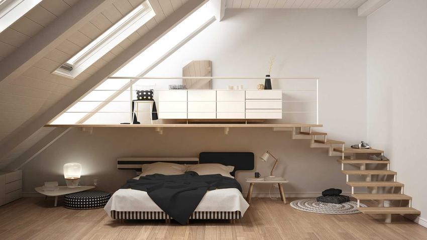 Sypialnia na poddaszu wspaniale wykorzystuje skosy i innego rodzaju elemety. Jest to świetne rozwiązanie i bardzo atrakcyjnie wyglądające pomysły