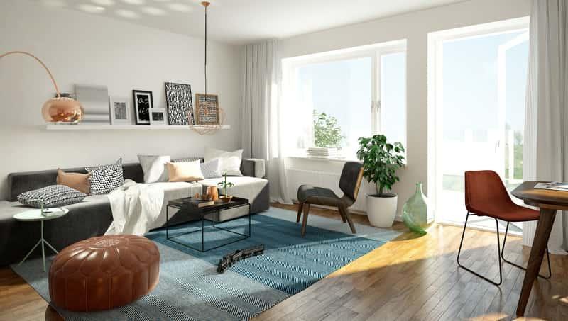 Nowoczesny salon w białym kolorze z niebieskimi akcentami, a także TOP 10 najpiękniejszych pomysłów na aranżację salonu
