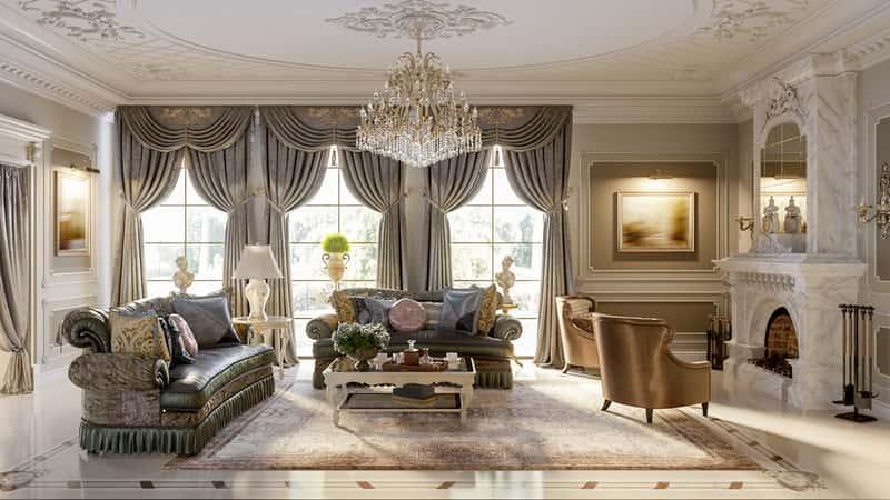 Jasny, klasyczny, stylowy salon z kryształowym żyrandolem, a także TOP 10 najlepszych aranżacji salonu
