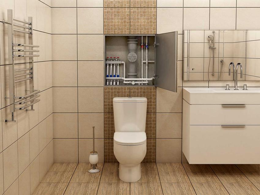 Przekrój w ścianie ukazujący rury w łazience, a także informacje, czy lepiej wybrać plastikowe czy miedziane rury do łazienki