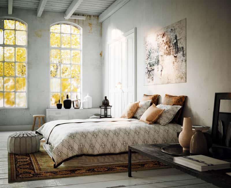 Dywany vintage w sypialni w starym stylu, a także opis i producenci dywanów w stylu retro oraz ich ceny i wzory krok po kroku