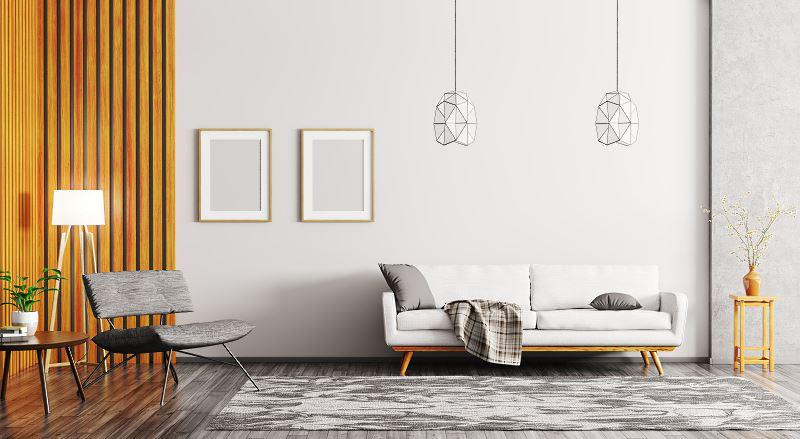 Nowoczesny dywan w minimalistycznym salonie, a także najlepsze modele dywanów w pokoju dziennym, wybór, zakup, porady