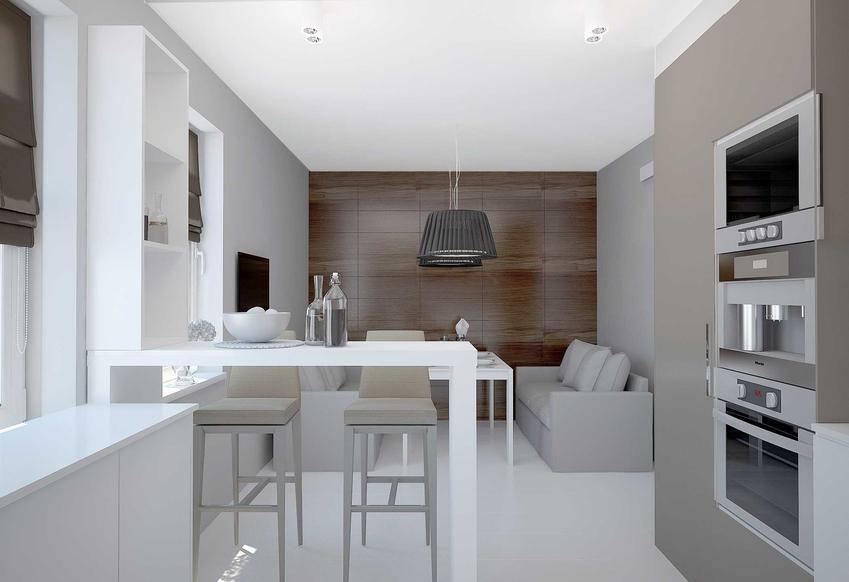 Wystrój salonu z aneksem kuchennym może być w różnym stylu. Bardzo często wybiera się styl skandynawski i białe meble.