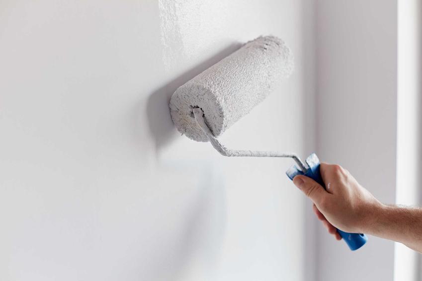 Malowanie ściany na biało przy pomocy wałka. Farby Bondex oraz opinie o nich i ceny zakupu farb w opakowaniach różnej wielkości