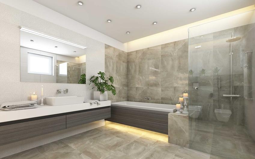 Płytki bezfugowe czy też kafelki bezfugowe, czyli glazura bezfugowa na ścianach i podłodze w łazience