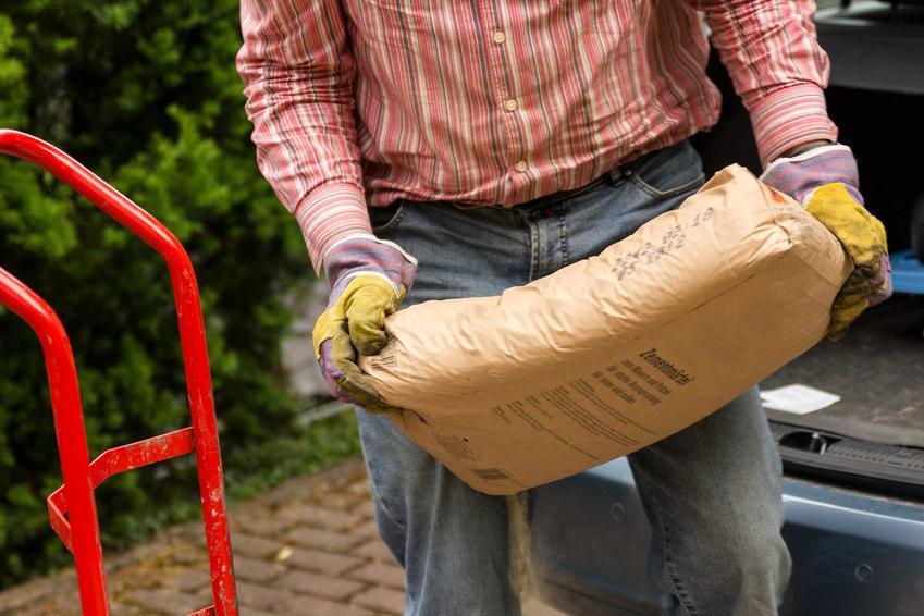 Mężczyzna trzymający worek cementu oraz cena cementu, czyli ile kosztuje cement, w tym tona cementu