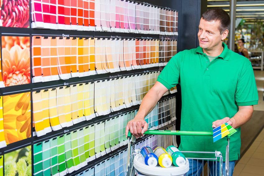 Mężczyzna wybierający farby w Castoramie, czyli Castorama i oferta farb, Beckekrs, Dulux i innych produktów różnego rodzaju