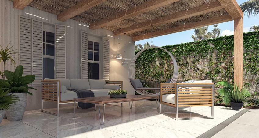 Ekskluzywne meble ogrodowe, w tym zestawy mebli rattanowych, drewnianych lub kutych i inne luksusowe meble ogrodowe