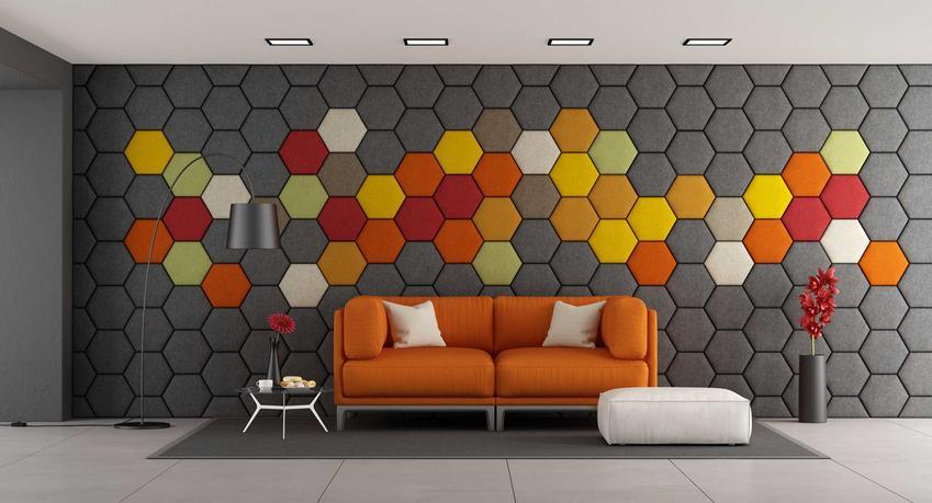 Panele ścienne, a dokładniej kolorowe panele na ścianę 3D w nowoczesnym salonie, a także ceny, rodzaje paneli ściennych i producenci