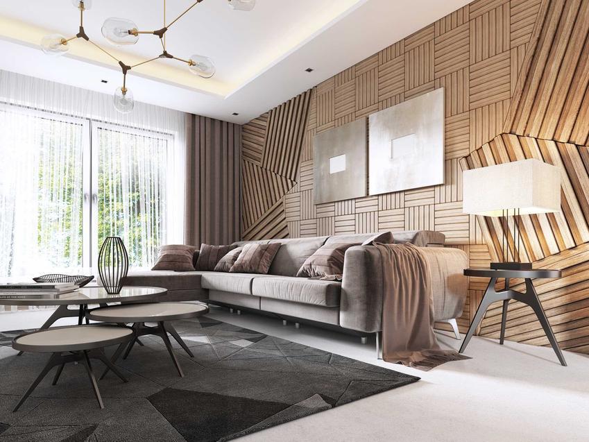 Panele ścienne, a dokładniej drewniane panele na ścianę w pięknie zaaranżowanym salonie, a także ich rodzae, ceny oraz producenci