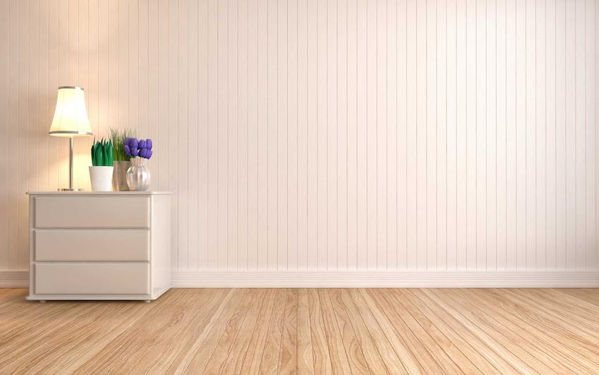 Jasny kolor boazerii w przedpokoju i pokoju będzie wyglądał najbardziej atrakcyjnie. Na tle białej ściany można ustawić meble w każdym kolorze.