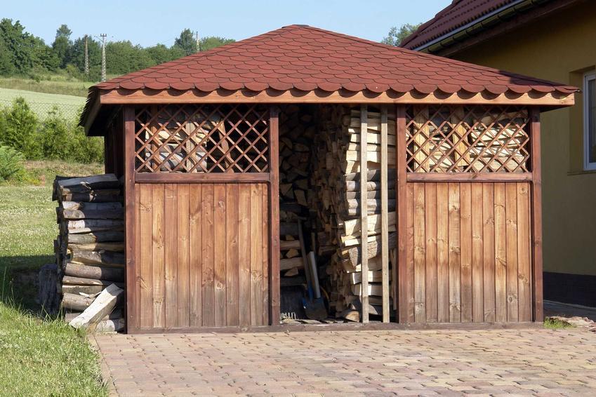 Drewutnia na drewno, a także domek narzędziowy z drewutnią na drewno kominkowe oraz jego projekt i cena