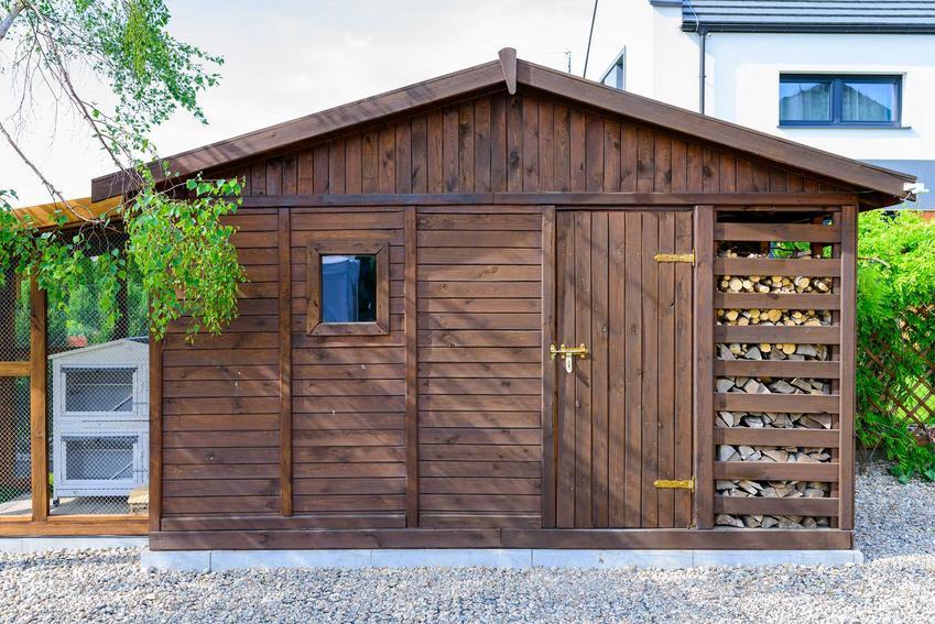 Domek narzędziowy z drewutnią na drewno kominkowe, a także projekty domków narzędziowych, wykonanie i cena
