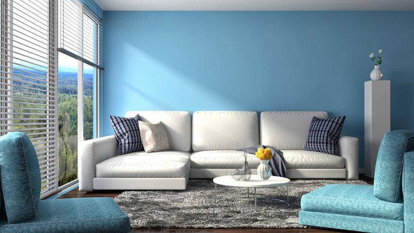 Jakie kolory do salonu? Najbardziej popularny jest błękit - delikatny, bardzo kojący, wspaniale wpływa na nastrój.
