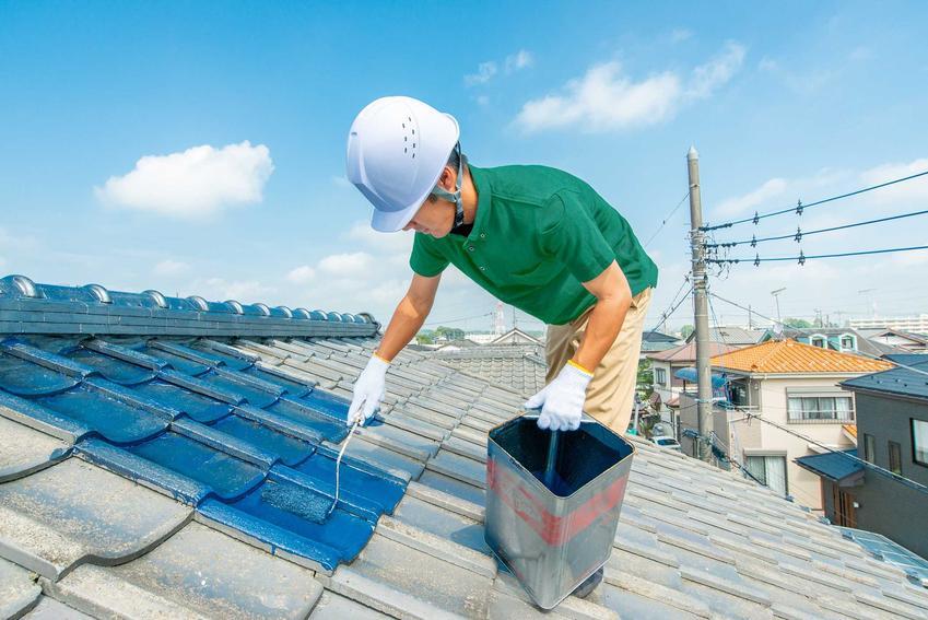 Mężczyzna podczas malowania dachu oraz odpowiednia farba na dach, ceny, producenci, rozwiązania i zastosowanie farb na dach