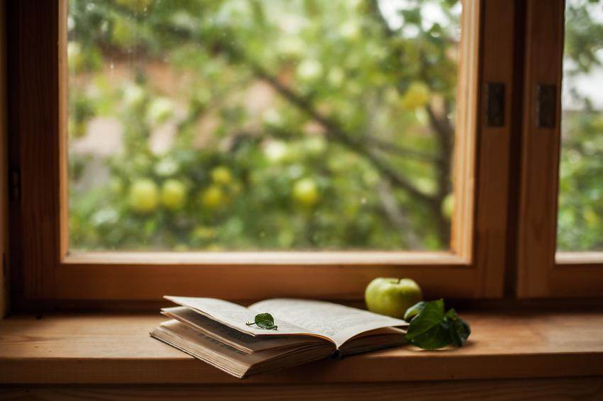 Książka na drewnianym parapecie, a także wewnętrzne i zewnętrzne drewniane parapety