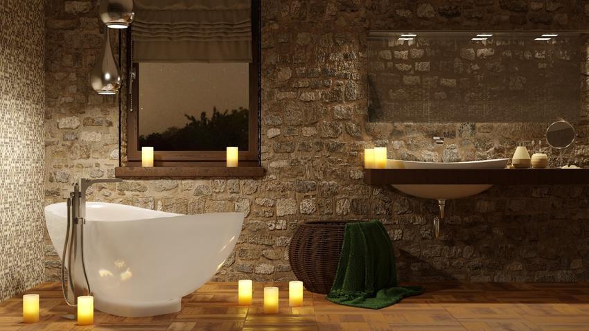 Kamień dekoracyjny w łazience zamiast płytek, czyli łazienka bez płytek