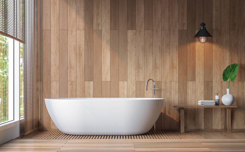 Elegancka łazienka w drewnie, czyli ciekawa łazienka bez płytek