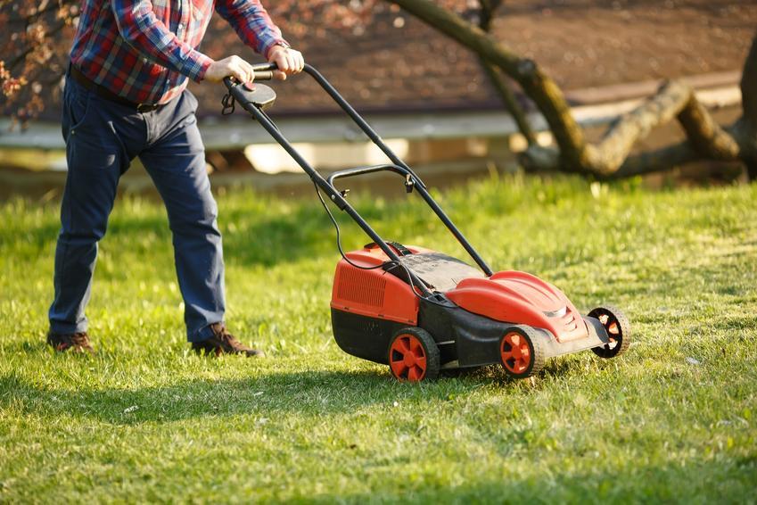 Mężczyzna podczas koszenia trawy w ogrodzie, a także koszenie trawy krok po kroku