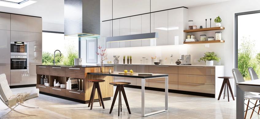 Nowoczesna kuchnia w przestronnym pomieszczeniu, a także pomysły na ciekawe aranżacje kuchenne