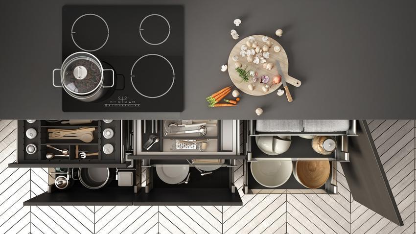 Rzut z góry na blat kuchenny i szuflady, a także nowoczesne kuchnie i nowoczesne meble kuchenne