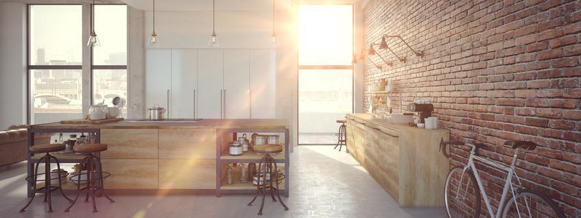 Modna kuchnia z ciekawymi ścianiami z cegły oraz nowoczesne kuchnie i nowoczesne meble kuchenne