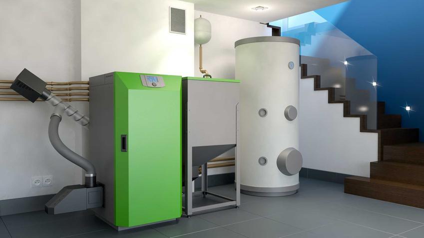 Piec na ekogroszek pasuje i do większej, i do mniejszej kotłowni. Składa się z kotła i podajnika, często obok zamontowany jest bojler do grzania ciepłej wody.