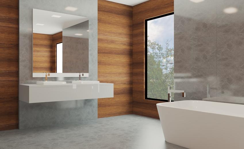 Piękna nowoczesna łazienka, a także panele ścienne do łazienki i okładziny ścienne